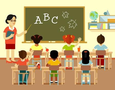 Mujer joven del profesor en el aula y el grupo de niños multicultural se sientan en pupitres, aislado en fondo blanco Ilustración de vector