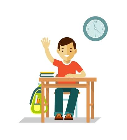 to sit: Estudiante niño se sienta en el escritorio en el aula aislada en el fondo blanco Vectores