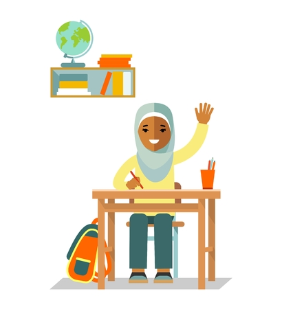 Student islamic girl sit at desk in classroom isolated on white background