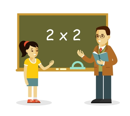 Young teacher man and pupil standing in classroom in class lesson, isolated on white background