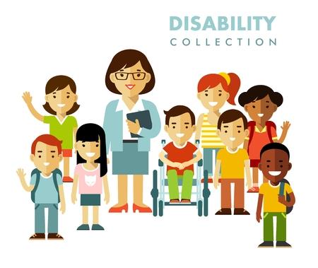 niño discapacitado en silla de ruedas junto con el grupo de niños de la escuela y el maestro aislado en el fondo blanco