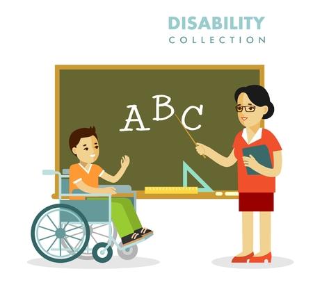 흰색 배경에 고립 된 플랫 스타일로 젊은 교사 여자와 클래스 수업 교실에서 칠판 근처에서 휠체어 장애인 소년,