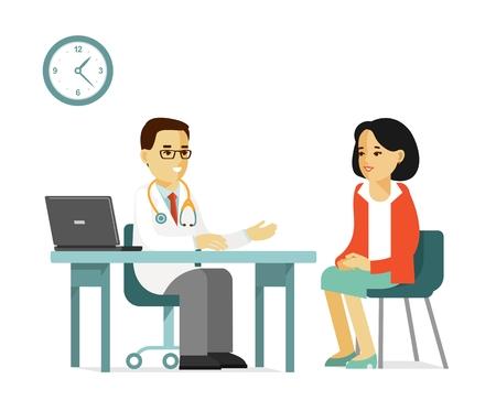 Praktykujący lekarz mężczyzna i młoda kobieta pacjenta w szpitalu. Konsultacja i diagnoza medyczna. Ilustracje wektorowe