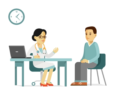 practitioner: Practitioner doctor woman and young man patient in hospital. Consultation and medical diagnosis.