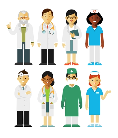 practitioner: Practitioner young doctors man and woman standing. Medical staff.
