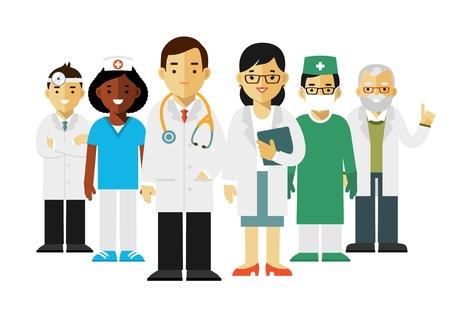 practitioner: Team of practitioner young doctors man and woman standing. Medical staff. Illustration