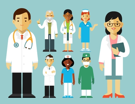 치료사 젊은 의사 남자와 여자 서. 의료 직원.