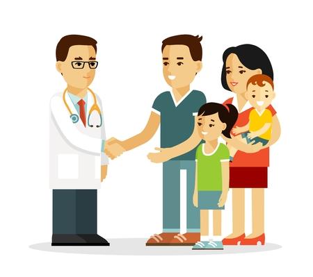 Doctor shake hands with father. Mother and children standing together and smiling.
