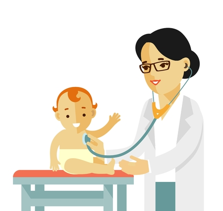 Doctor doing medical examination of baby with stethoscope.