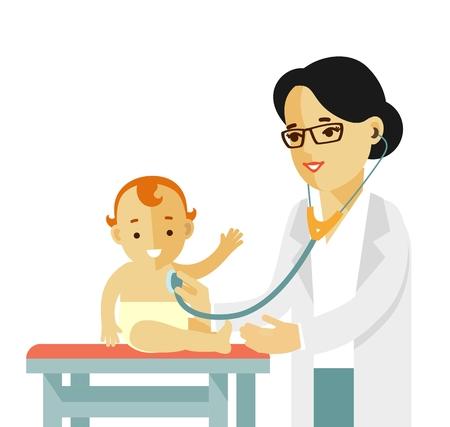medical examination: Doctor doing medical examination of baby with stethoscope.