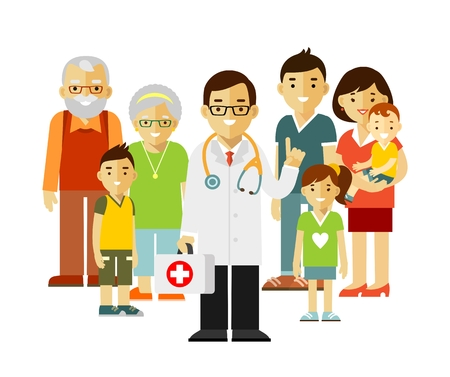 a physician: Doctor standing together with father, mother, children and grandparents.