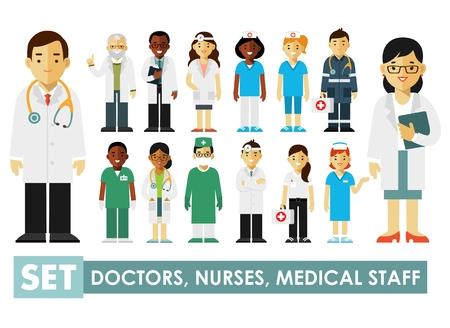 medico caricatura: Practicante médicos jóvenes hombre y la mujer de pie. Personal medico.