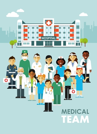 medical staff: Practitioner young doctors man and woman standing together. Medical staff.