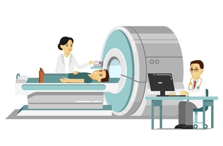 Medicine concept MRI scan and diagnostics in flat style isolated on white background. Young doctor man scanning patient with scanner machine in hospital. Consultation and medical diagnosis. 版權商用圖片 - 97890862