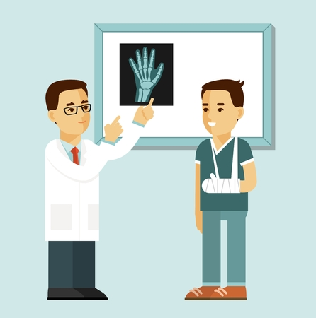 Medicine concept with doctor and patient in flat style isolated on white background. Doctor traumatologist and injured young patient with broken arm in hospital. Consultation and medical X-ray diagnosis.