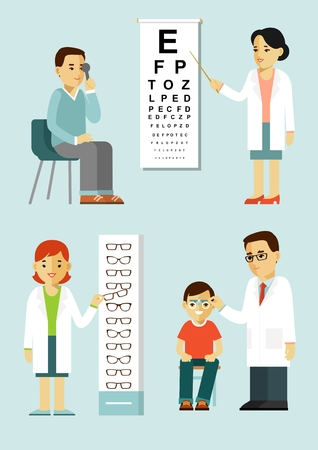 Illustration of optician doctors checking eyesight of patients