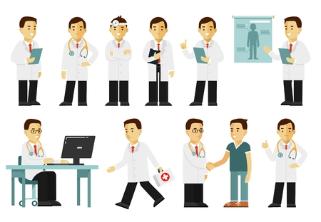 Medicine people character set in flat style isolated on white background