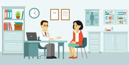 Concepto de medicina con médico y paciente en estilo plano. Médico practicante hombre y mujer joven paciente en el consultorio médico del hospital. Consulta y diagnóstico.