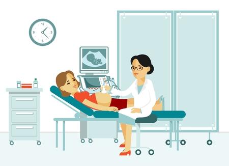 Illustratie van een arts die een echoscopie zwangere vrouw doet Vector Illustratie