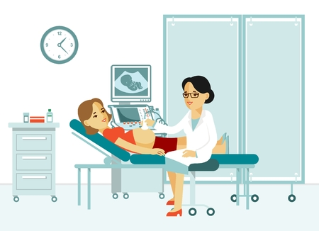 Illustration of a doctor doing an ultrasound scan  pregnant woman