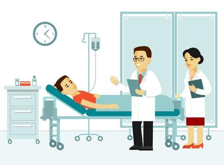 Medizinkonzept mit Doktor und Patienten in der flachen Art lokalisiert auf weißem Hintergrund. Praktikerdoktormann und junge Frau pflegen mit Patienten im Krankenhausarztpraxis. Ärztliche Untersuchung und Behandlung.