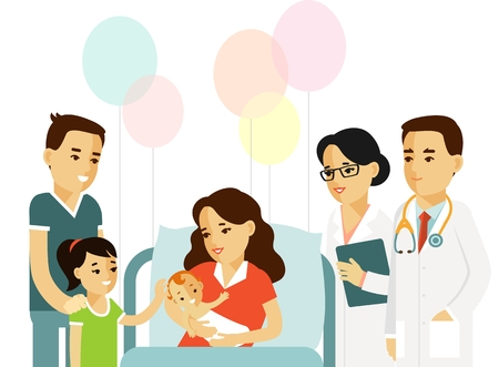 Happy family concept in flat style isolated on white background. Young mother with newborn baby, father, daughter, doctor and nurse in hospital ward.