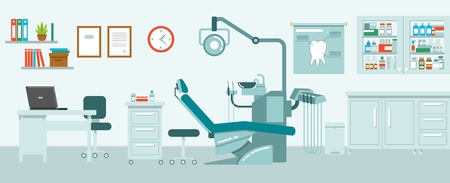 Dental office concept in flat style. Hospital interior with dentist workplace.