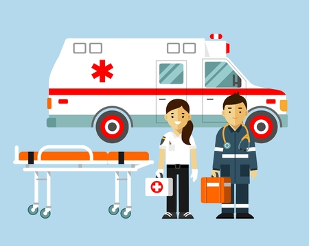 Medicine ambulance concept in flat style isolated on blue background. Young doctor paramedic man and woman, ambulance car, stretcher.