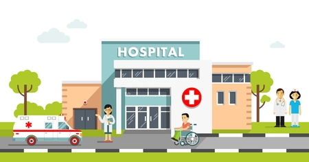 Medical concept with hospital building and doctor in flat style. Ilustração