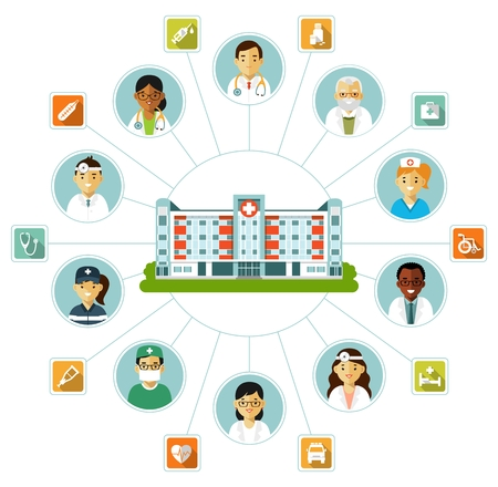 Infographics design elements - doctors, nurses, staff and medicine icons