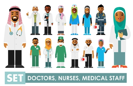 Medicine set with muslim arabic doctors and nurses in flat style isolated on white background