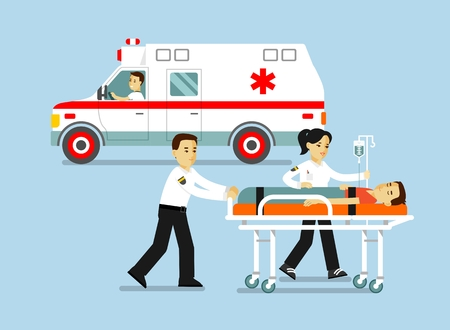 Medicine ambulance concept in flat style isolated on blue background. Young doctor paramedic man and woman, ambulance car and patient on stretcher.