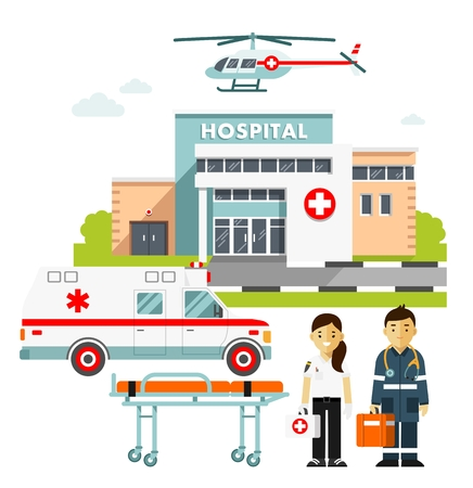 Medicine ambulance concept in flat style isolated on white background. Hospital building, young doctors man and woman, paramedic ambulance car and medical helicopter. Ilustração
