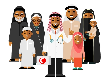 Family muslim arabic doctor concept with young practitioner and happy patients in flat style isolated on background. Islamic doctor standing together with father, mother, children and grandparents Ilustração
