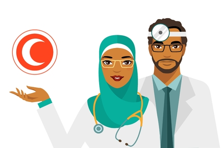 Medicine concept with muslim arabic doctors and crescent sign in flat style isolated on white background. Practitioner young islam doctors man and woman in hijab standing. Medical staff
