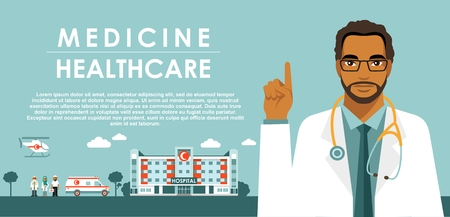 Medicine concept with Muslim Arabic doctor in flat style isolated on blue background. Ilustração
