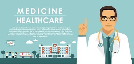 Medicine concept with doctor in flat style isolated on blue background.