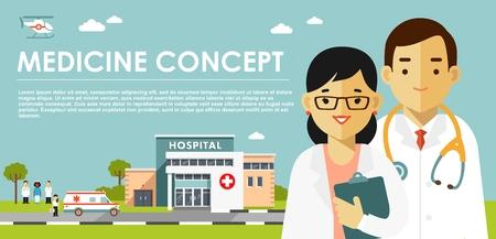 Concepto de medicina con médicos en estilo plano aislado sobre fondo azul.
