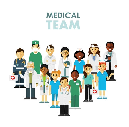 Medicine team concept with doctors and nurses in flat style isolated on hospital background