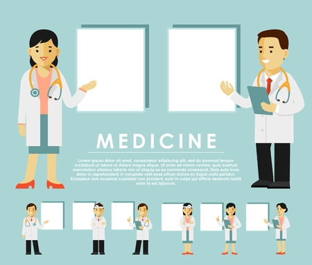 Medicine people character set with blank banners in flat style isolated on white background Ilustração