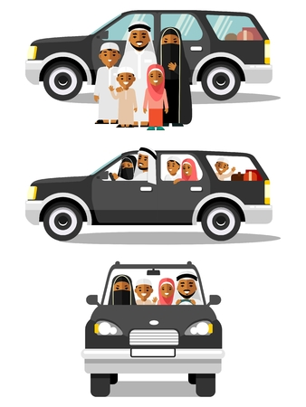 Happy muslim arabic family traveling by car in different views. Arab people father, mother, children in traditional islamic clothes sitting in black automobile and standing together. Vector illustration in flat style isolated on white background. Stock Illustratie