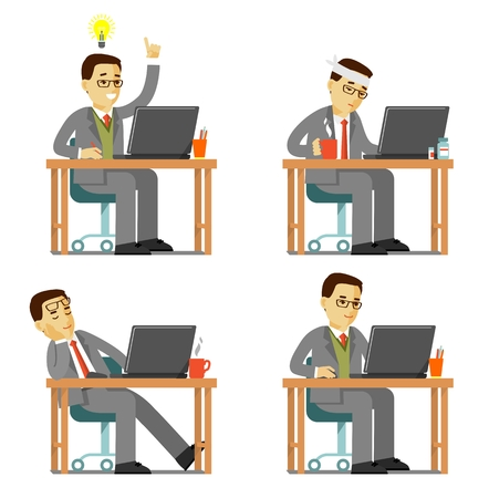 Businessman office internet work concept. Young business man in different poses and emotions sitting at the computer desk with laptop and working