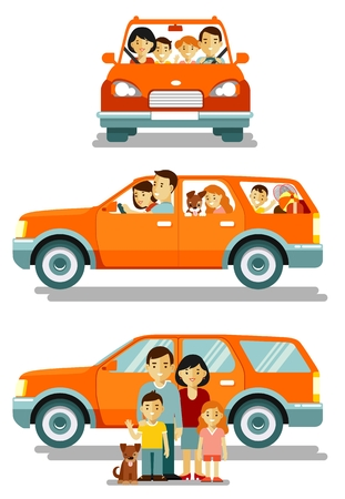 Happy family traveling by car in different views front and side. People set father, mother and children sitting in automobile and standing together. Vector illustration in flat style isolated on white background.