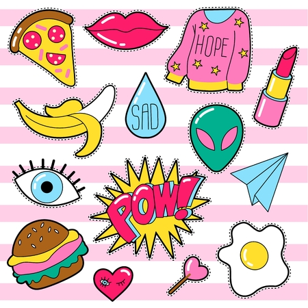 Set of different badges. Fashion patches, stickers, pins and signs with heart, lips, eye, speech bubbles in 80s 90s style isolated on white background.