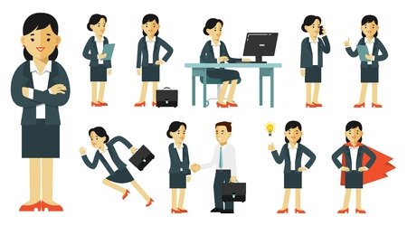 Set of businesswoman characters in different poses Ilustração
