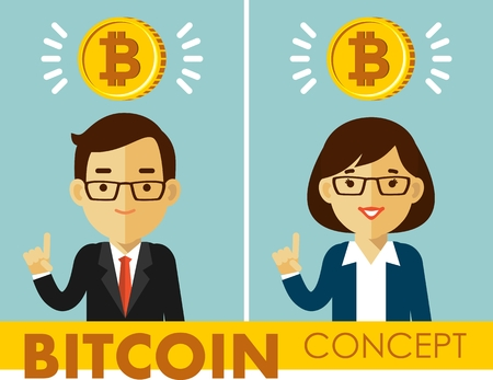 Cryptocurrency concept with people and gold coin. Man and woman businessman and bitcoin sign.