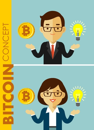 Man and woman businessman with idea symbol and bitcoin sign. Ilustração