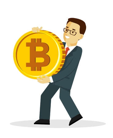 Cryptocurrency concept with man and gold coin. Young businessman holding in hands big bitcoin sign.