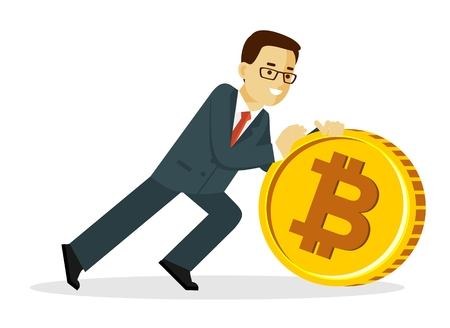 Cryptocurrency concept with man and gold coin. Young businessman pushes big bitcoin sign. Vector illustration