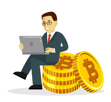 Cryptocurrency concept with man and gold coin. Young businessman with laptop sitting on big bitcoin signs.